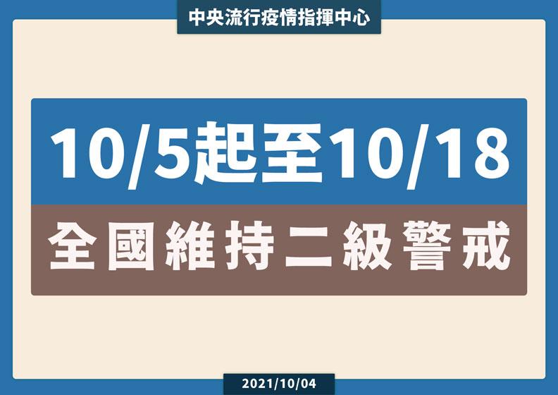 10/5起至10/18全國維持二級警戒。中央流行疫情指揮中心提供