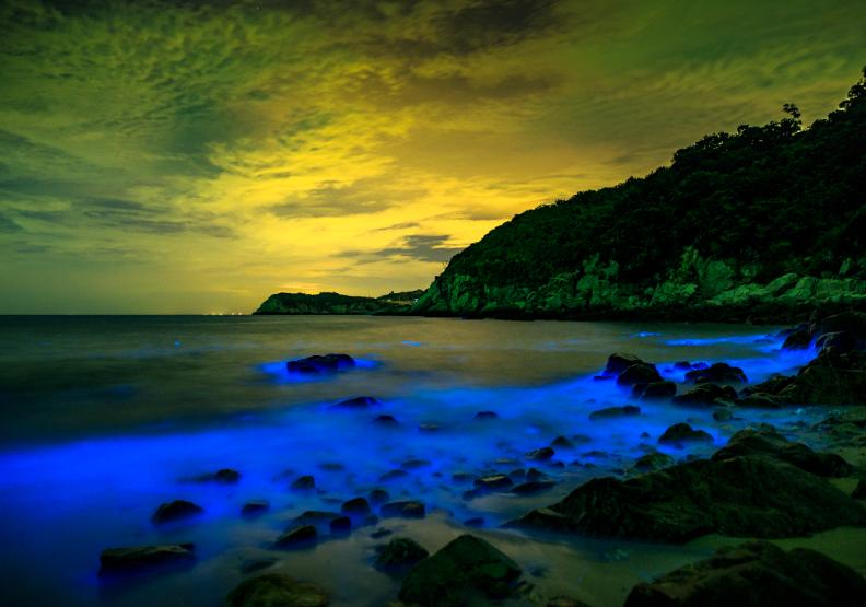 馬祖「藍眼淚」攝影大賽優選《王長琳:藍色灣澳》。連江縣政府提供。
