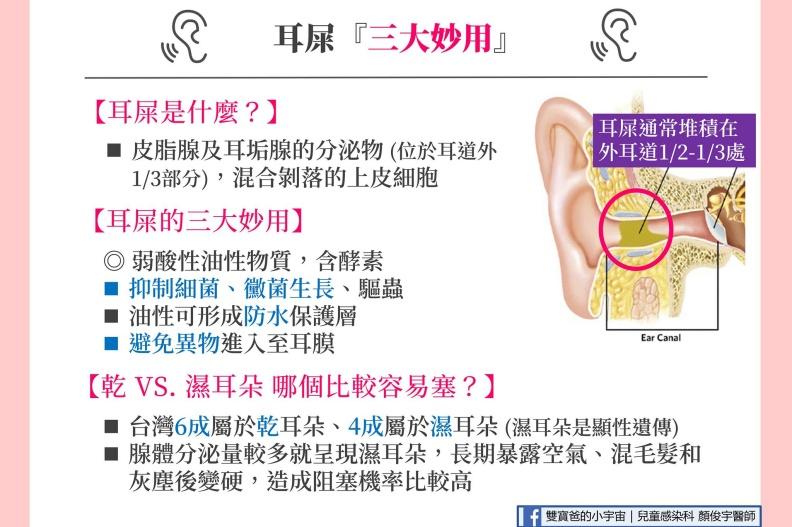 耳屎的三大妙用。顏俊宇醫師提供
