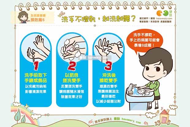 洗手不擦乾,越洗越髒?