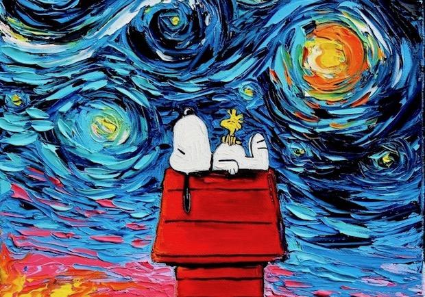 當龍貓、史努比闖進梵谷名畫《星夜》中!
