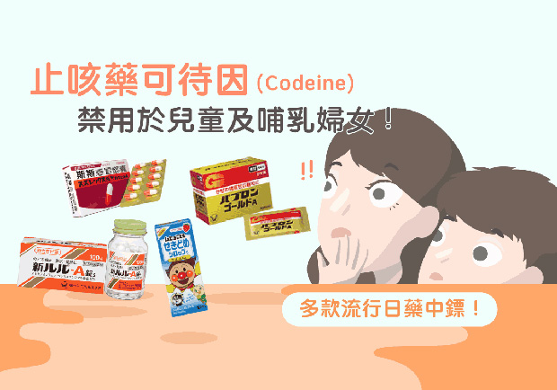 止咳藥可待因禁用於兒童及哺乳婦女,多款流行日藥中鏢