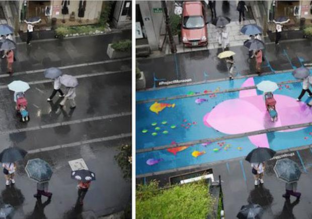 下雨不愁!創意街上壁畫讓繽紛馬路成為雨天限定風景!
