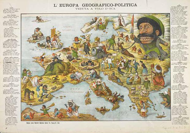 挖苦歐洲地圖,一八七一年