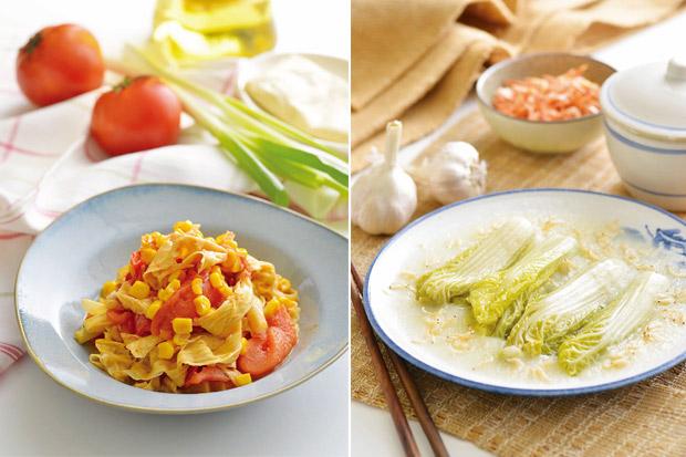 王明勇的健康廚房:蕃茄悶豆皮、蔥蒜燉白菜